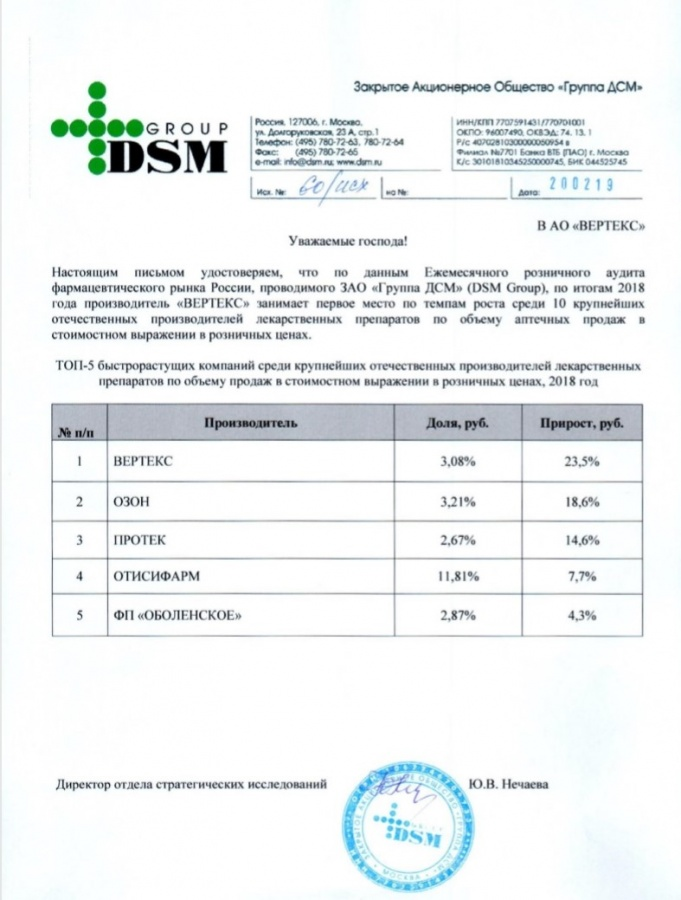 Leader in terms of growth rate among the largest domestic drug manufacturers in terms of sales in Russian pharmacies in 2018, DSM Group